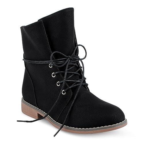 f5cd4c1195d7 FiveSix Damen Biker Boots Blockabsatz Schnür Stiefel Stiefeletten