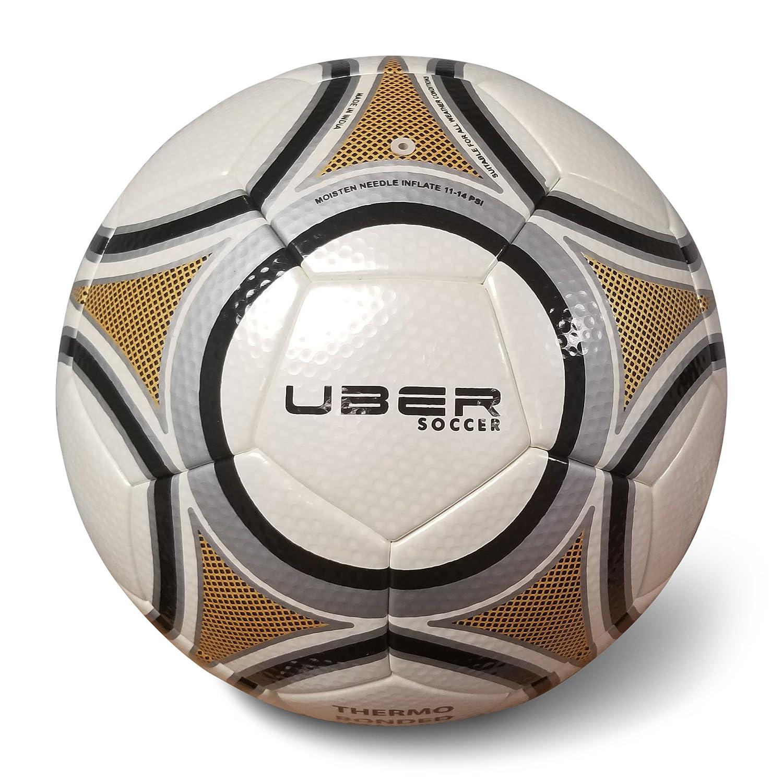 Uber Balón de fútbol Thermo Bonded Match, Size 5, Dorado/Negro ...