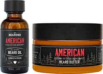 Live Bearded: Beard Oil and Beard Butter Grooming Kit - American - All-Natural Ingredients with Shea Butter, Argan Oil, Jojoba Oil and More - Beard Growth Support - Made in the USA