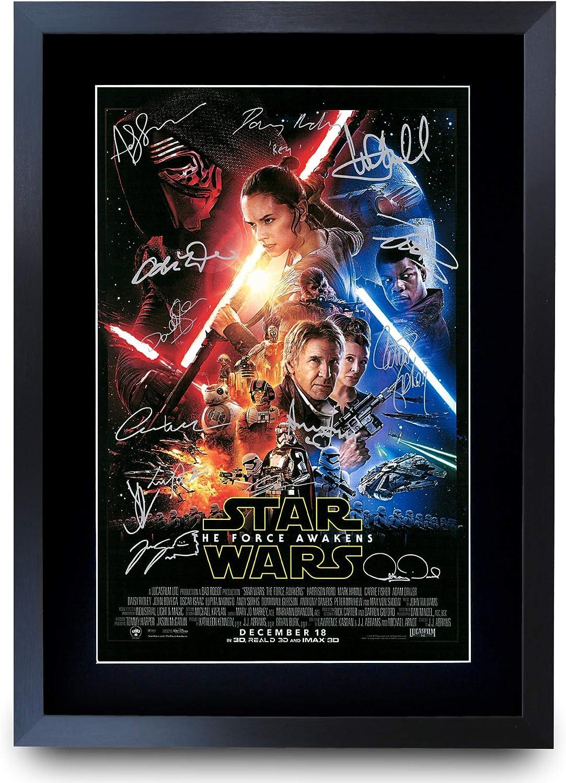 A3 stampa fotografica stampa con autografi Poster della collezione cinematografica con firme del cast A3 incorniciato per regalo tema Guerre stellari Il risveglio della forza in formato A3 incorniciato A3 HWC Trading