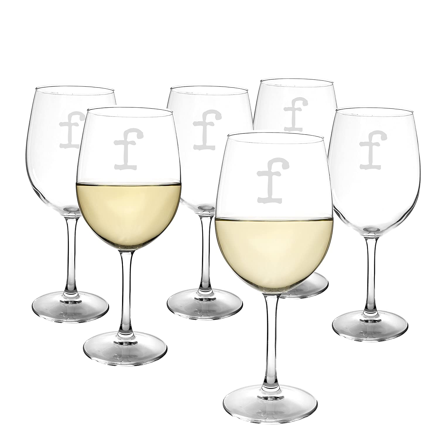 White Wine Glasses Cathys Concepts Personalized 12 oz Set of 6 Letter Q