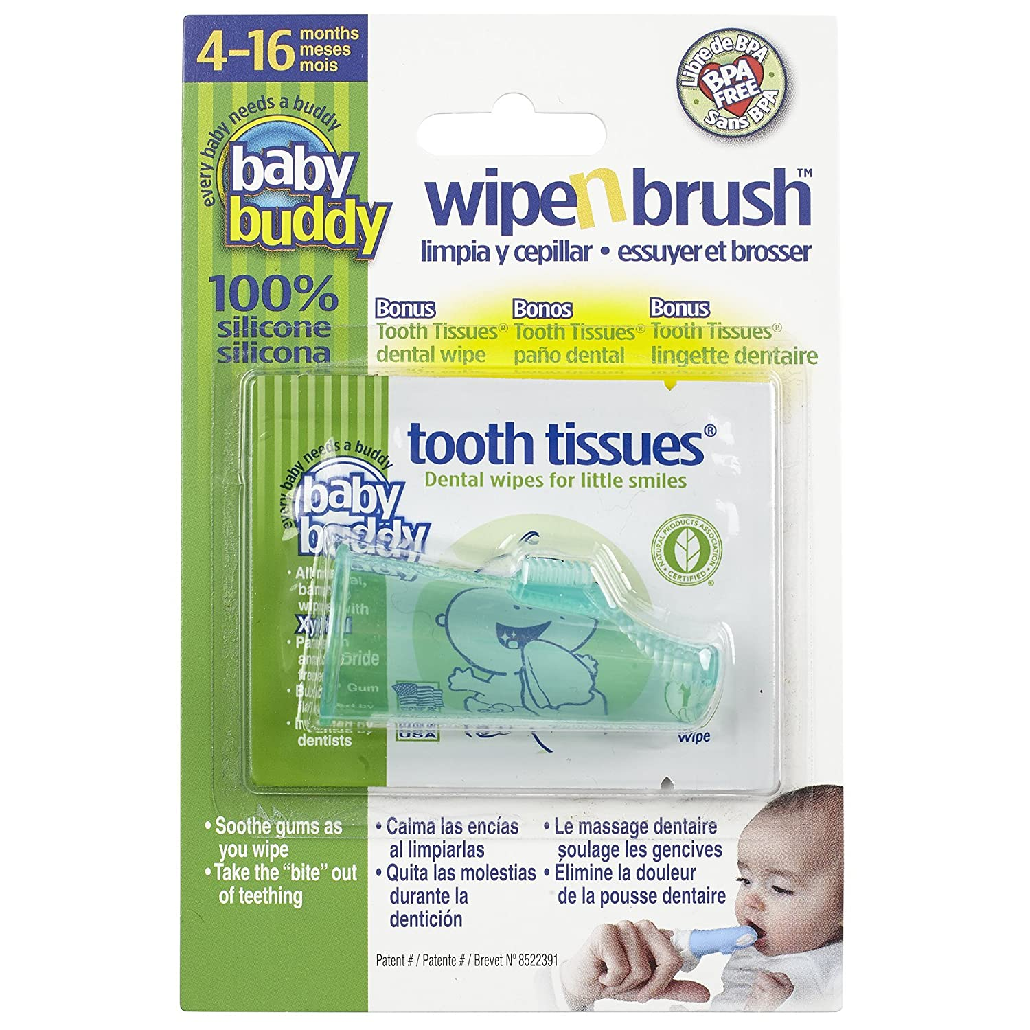 Baby Buddy Green Wipe and Brush with Tooth Tissues Compac Industries 00588G