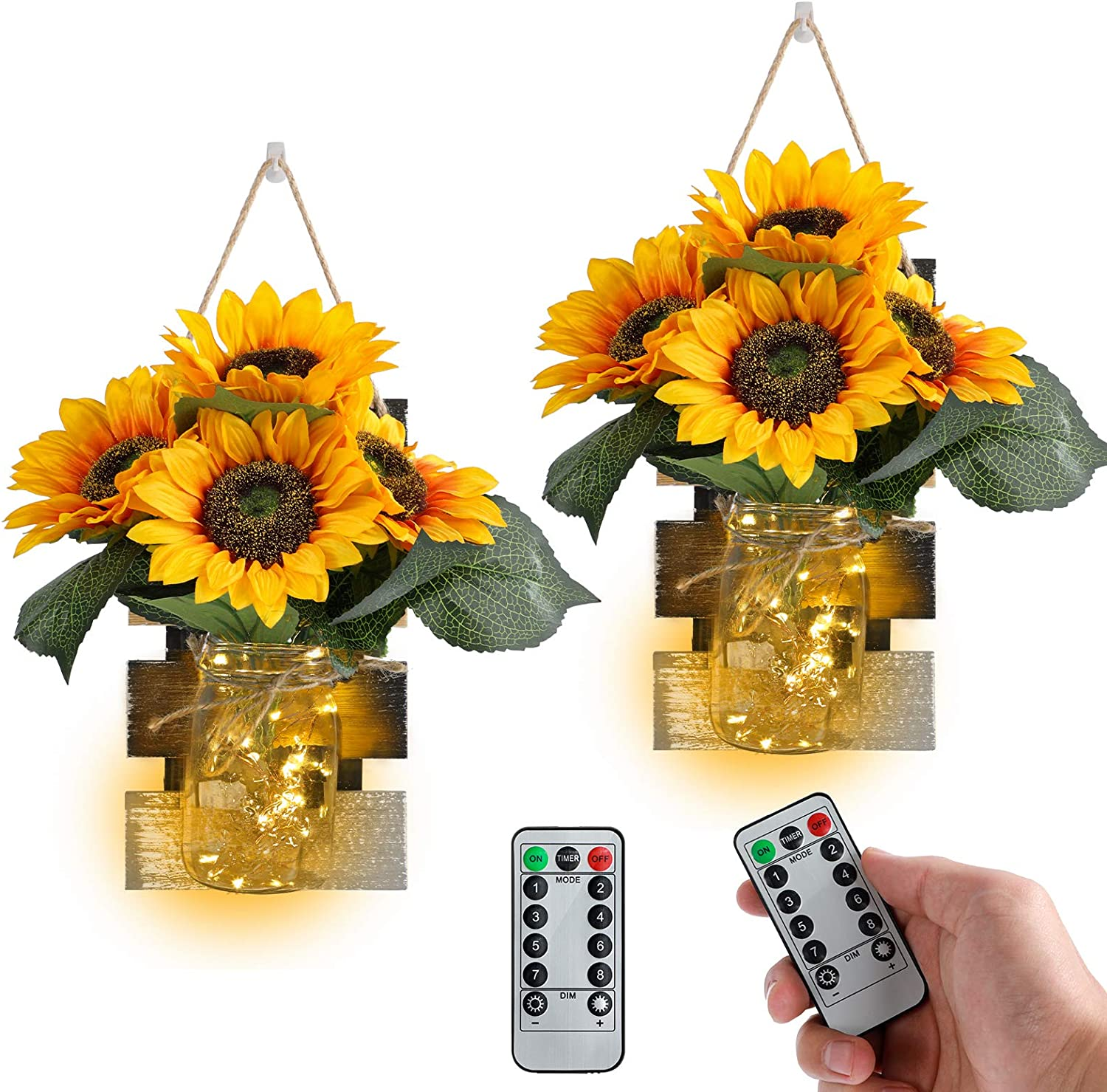 Rustic Mason Jar Wall Sconces with Remote Control LED Fairy Lights and Large Bunch Sunflowers, Farmhouse Wall Art Hanging Design Decorations for Living Room Kitchen Wall Home Decor Set of Two