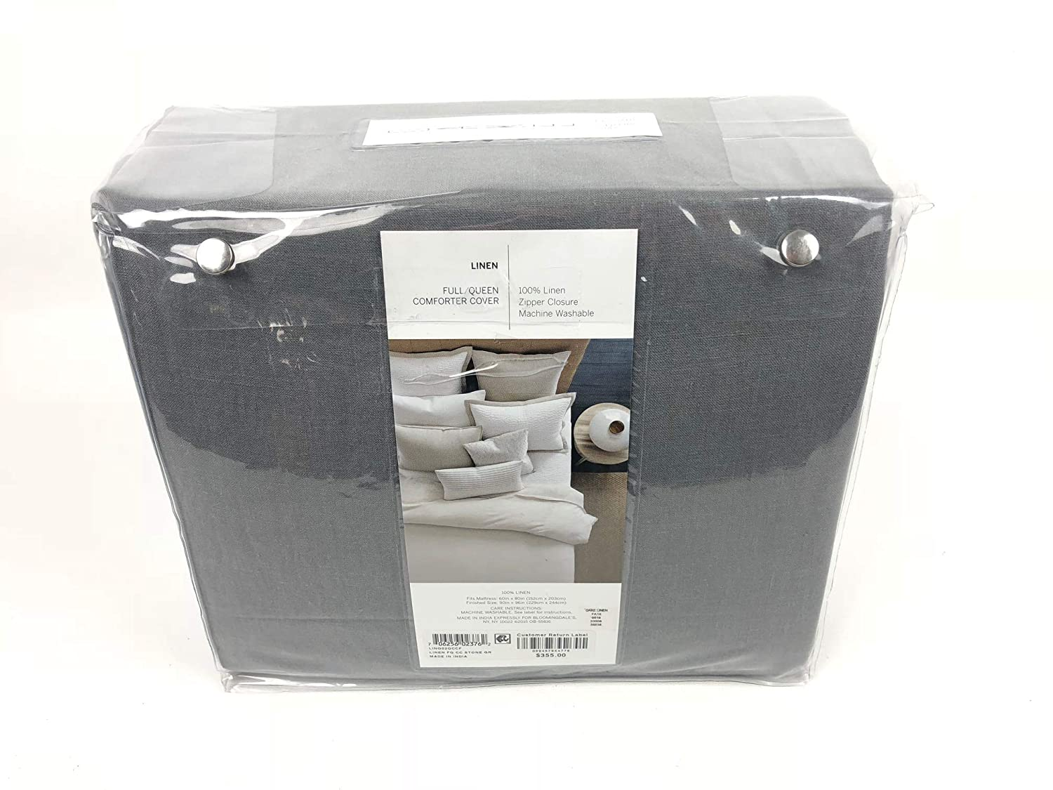 Oake Full Queen Solid Linen Duvet Cover Stone Grey by Bloomingdales