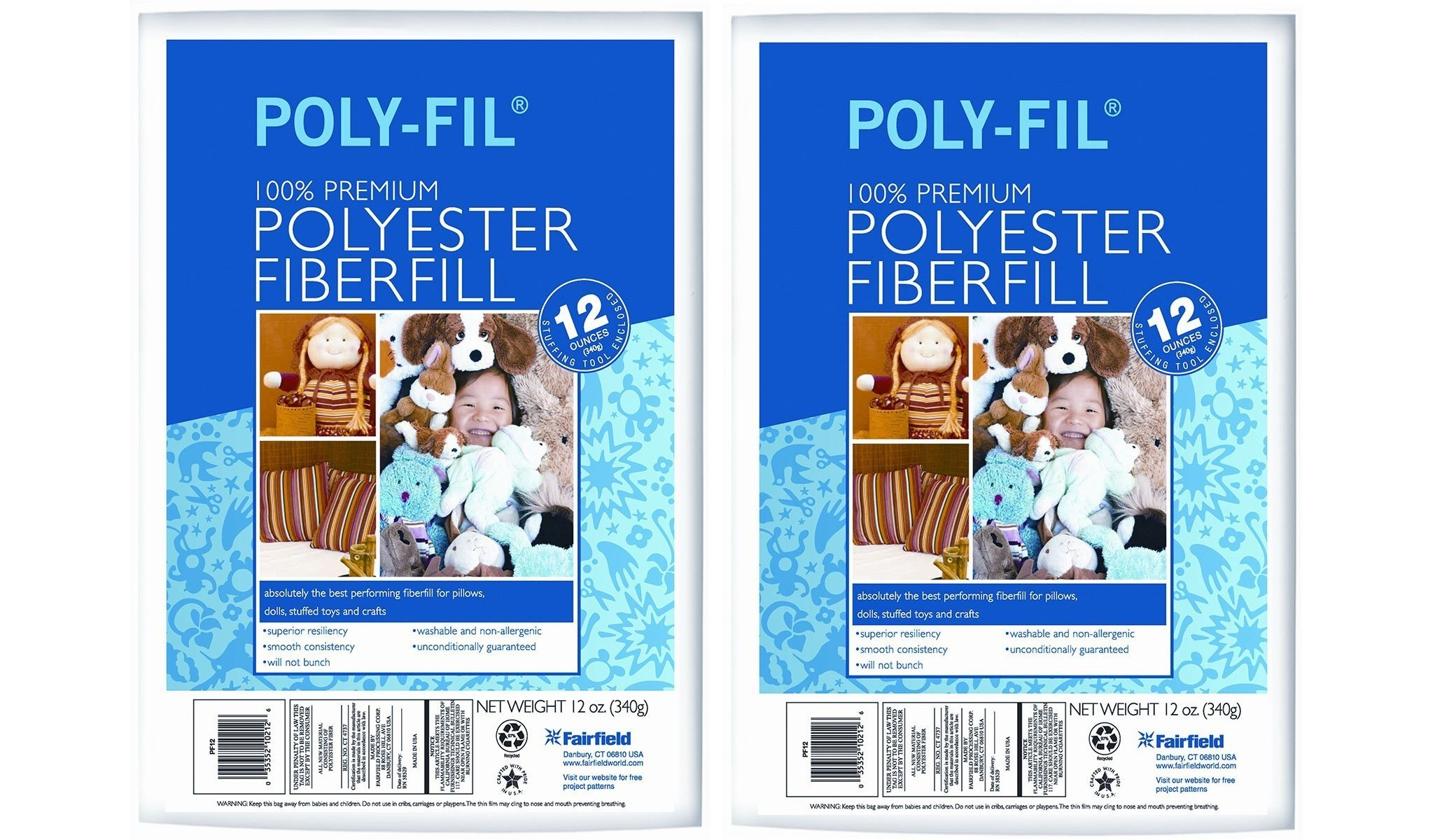 Fairfield FAIPFT12 Fiber Poly Fil Bag, 12 oz, White (2 Pack) by Fairfield
