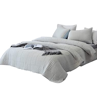 DAWNDIOR Super Soft Quilt-Bedding-Coverlet-Sets,King Size with 2 Shams and 1 Lightweight Qulted Comforter with Solid Color