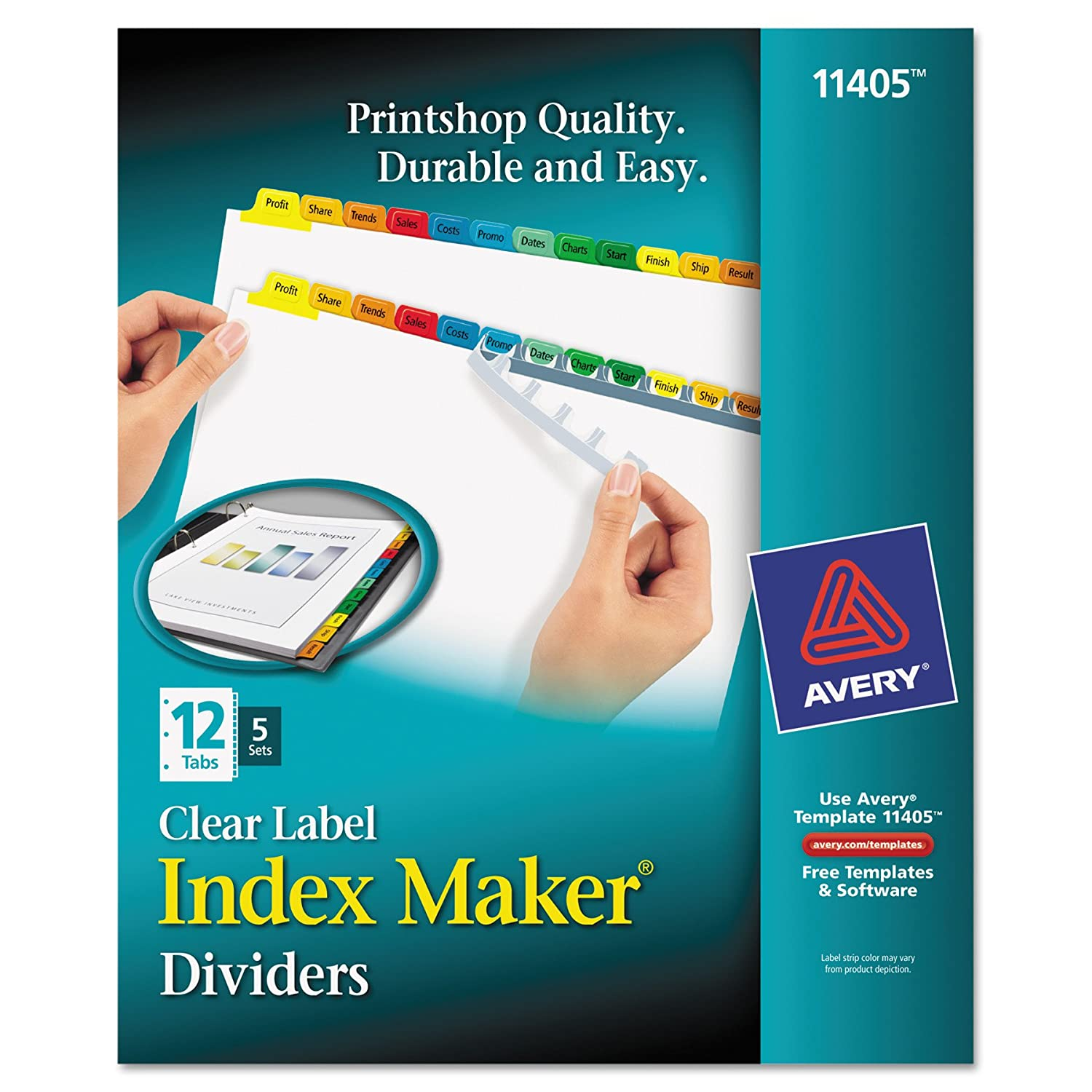 amazon com avery print apply clear label tab dividers index
