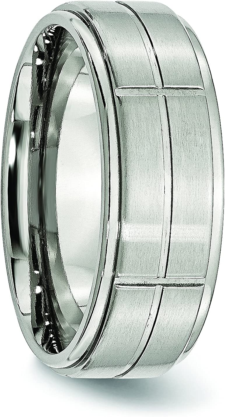 FB Jewels Solid Cobalt Satin And Polished Ridged Edge 8mm Wedding Band