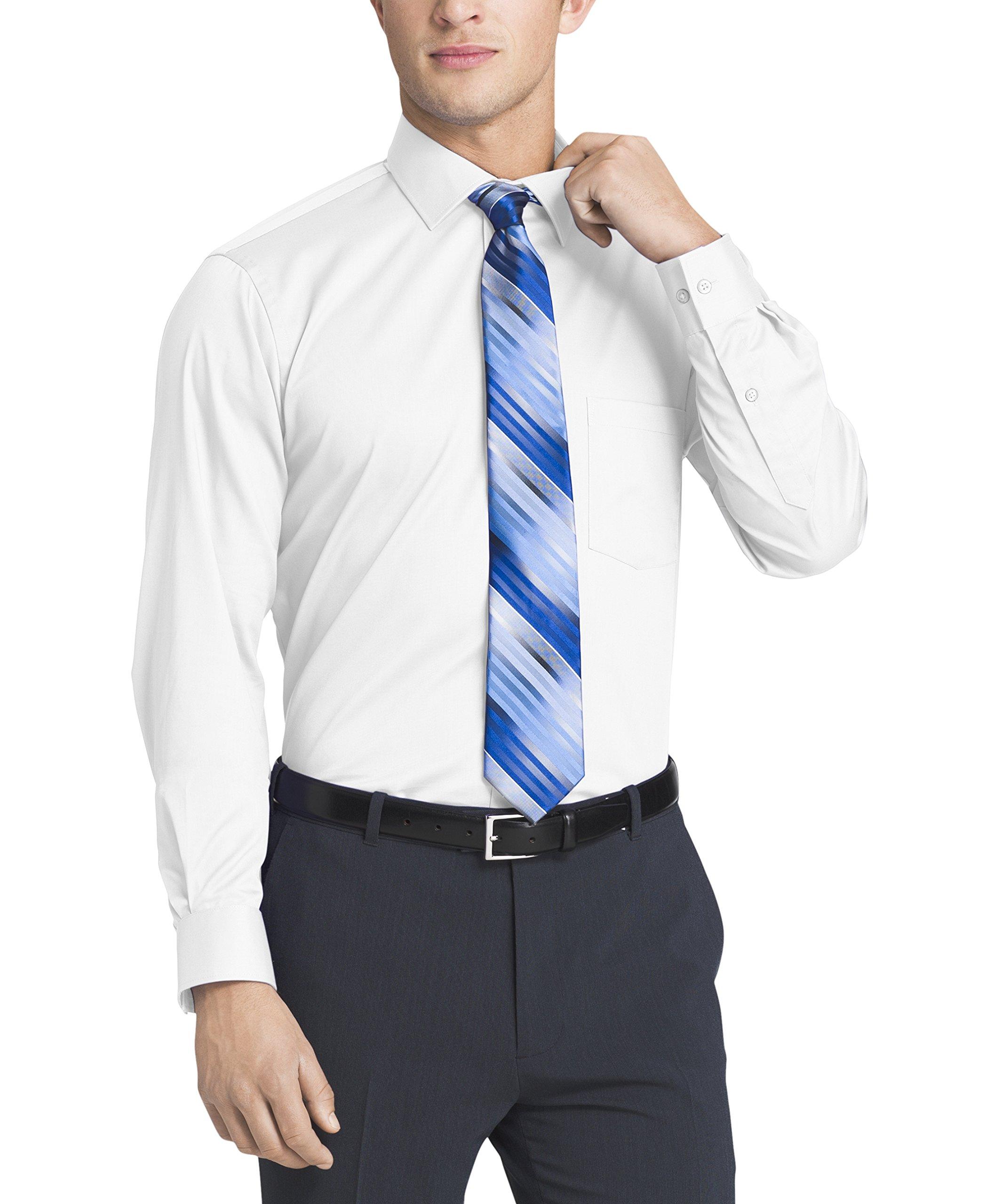 Van Heusen Men's Flex Collar Regular Fit Solid Spread Collar Dress Shirt, White, 16.5'' Neck 32''-33'' Sleeve by Van Heusen (Image #3)