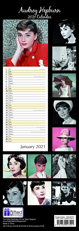 2021 Slimline Calendar Audrey Hepburn Includes 180 Reminder Stickers