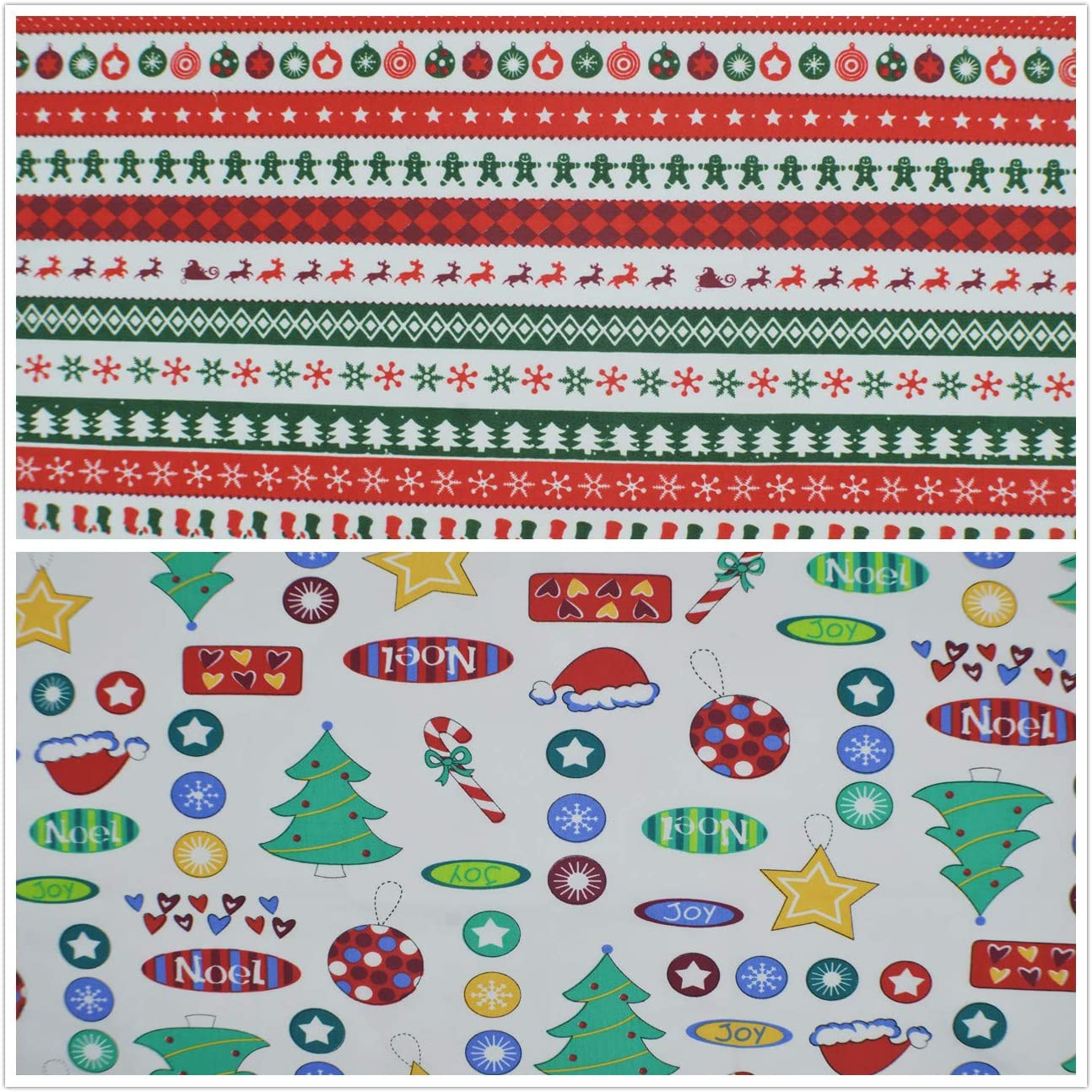 100/% Cotton Quilting Sewing Fabric 18 x22 inches iNee Christmas Fat Quarters Fabric Bundles