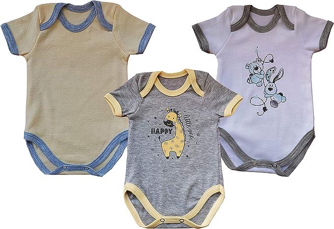 Body para Bebé Niños y Niñas 0-3 Meses: 3 Piezas, Algodón Unisexos ...