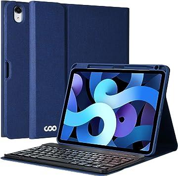 Teclado iPad Air 4 10.9 2020 Funda, Teclado Español (Incluye Ñ) para iPad air 4th Gen 10.9 2020/iPad pro 11 2018, Cubierta con Ranura de Lápiz y ...