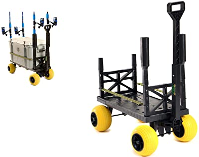 Pier Fishing Cart Gear Marine Dock Carts Wagon Trolley with 4 Wheels Fish Pole Rod Holder