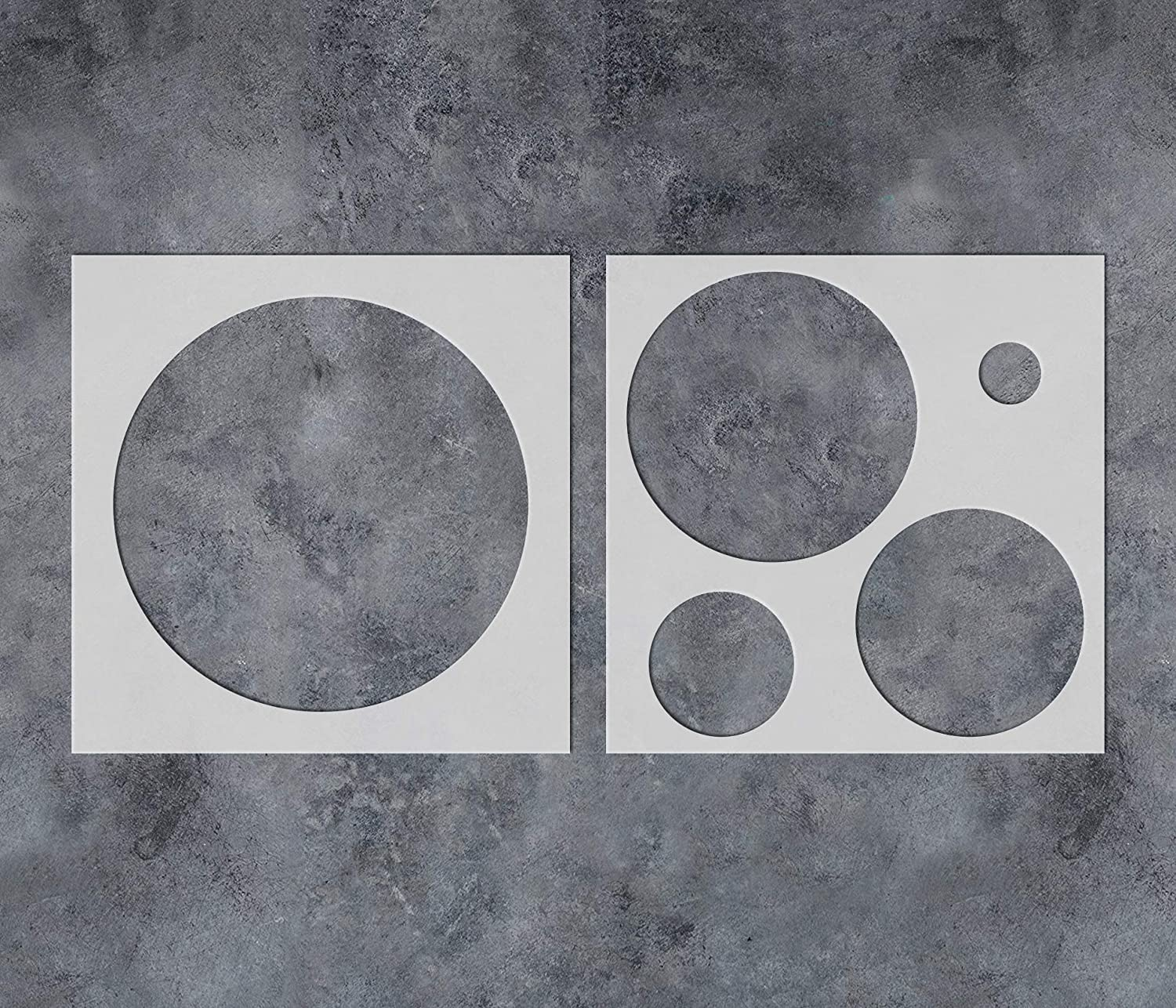 GSS Designs Circle Polka Dot Wall Stencil (2 Pack) - Reusable Plastic Stencils for Painting on Wall Wood Canvas Furniture (12x12In) - Use for Wall Art DIY Home Decor