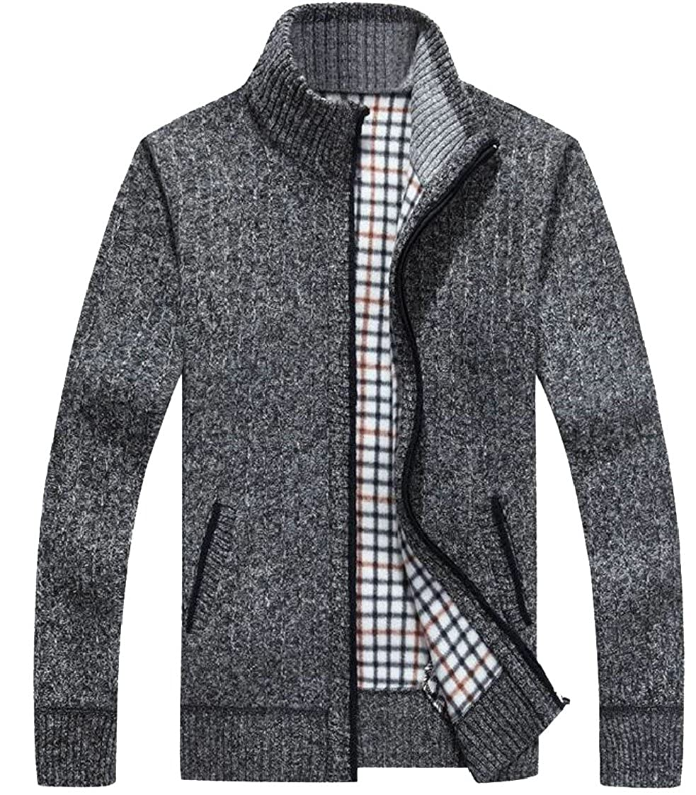 lovever Mens Classic New Plus Size Cotton Zip Knitted Cardigan Sweater