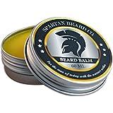 Baume pour Barbe Spartan (60 ml) – Ce produit de soin pour homme réduit les frisottis, le bouclage et les pointes fourchues – Adoucit la moustache et hydrate la peau sèche – Bois de cèdre, sapin, cire d'abeille et huile d'amande douce.