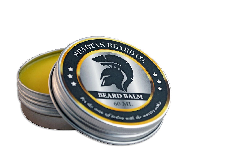 Spartan Beard Balm (60ml)–Leave-In Après-shampoing pour les hommes, réduit frisottis, boucles et cassures–Fait Barbe Cheveux souples et élimine la peau sèc