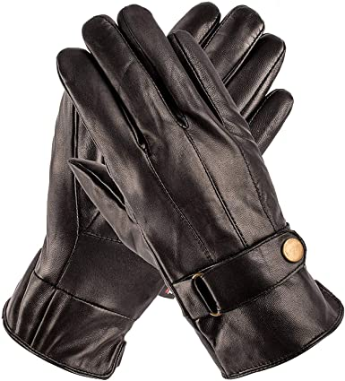 MG/'s Fashion Mens High Quality Real Leather Gloves Fleece Lining Black//Brown//Red