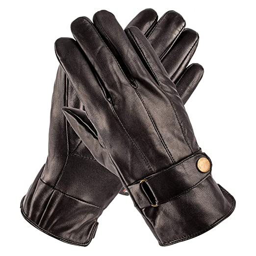 f343dfd8b Pierre Cardin Luxury Leather Gloves with Strap - Mens Leather Winter Gloves