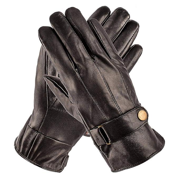 1124e2adf Amazon.com: Pierre Cardin Leather Glove with Strap (Black, Large ...