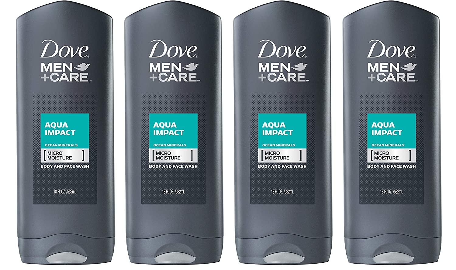 Dove Men+Care Body and Face Wash, Aqua Impact, 18 Ounce (Pack of 4)