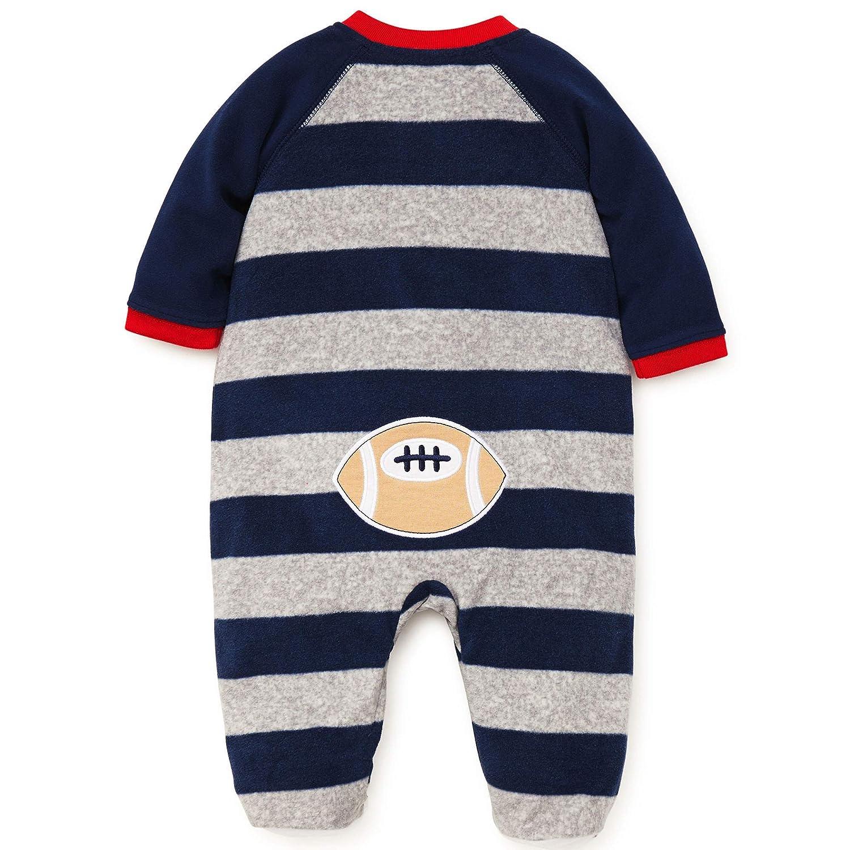 6aed823e58 Amazon.com  Little Me Warm Fleece Baby Pajamas Footed Blanket Sleeper  Footie Navy Grey Stripe Bear 9 Months  Baby