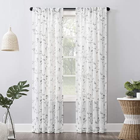 No 918 Delia Embroidered Floral Sheer Rod Pocket Curtain Panel 50 X 63 White Home Kitchen