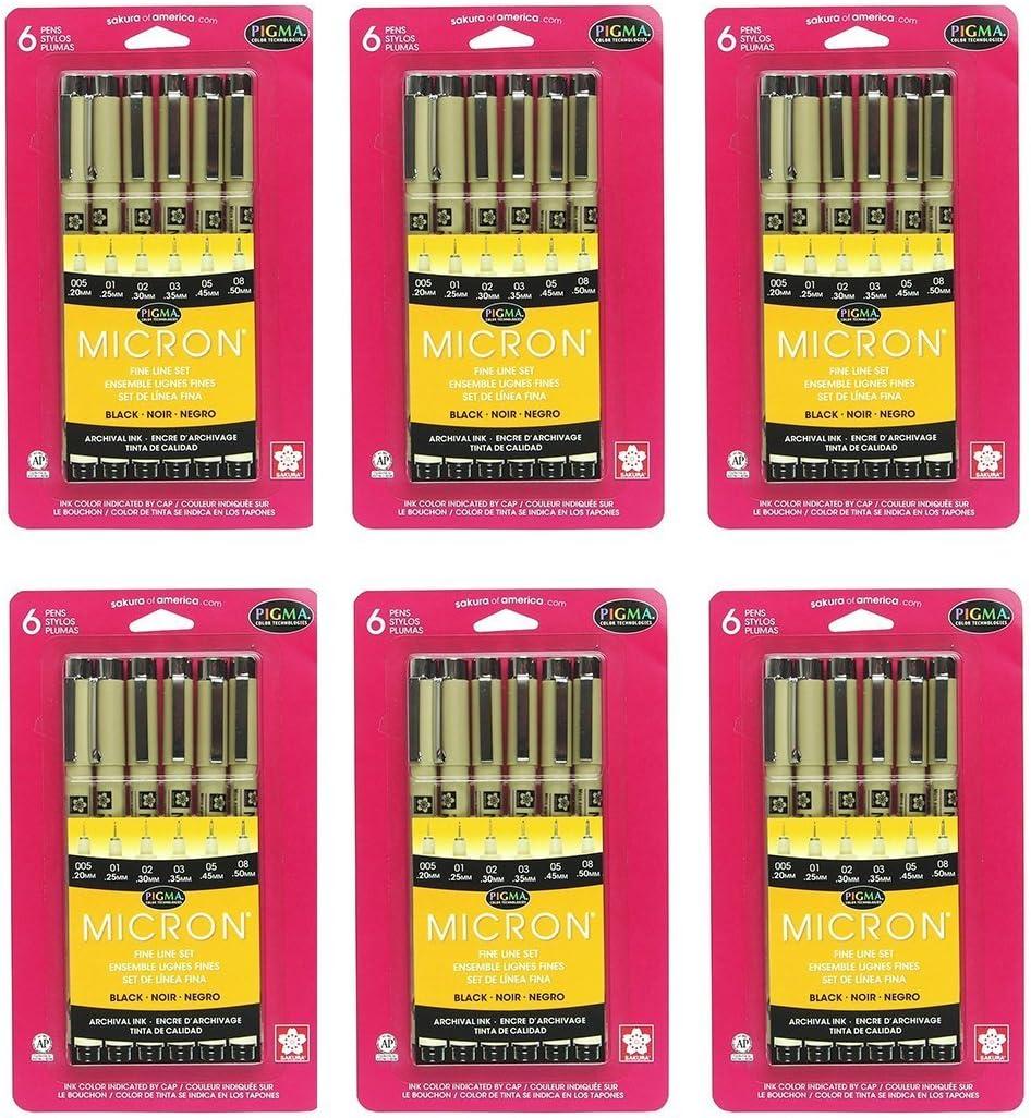 Black Sakura 30062 6-Piece Pigma Micron Ink Pen Set