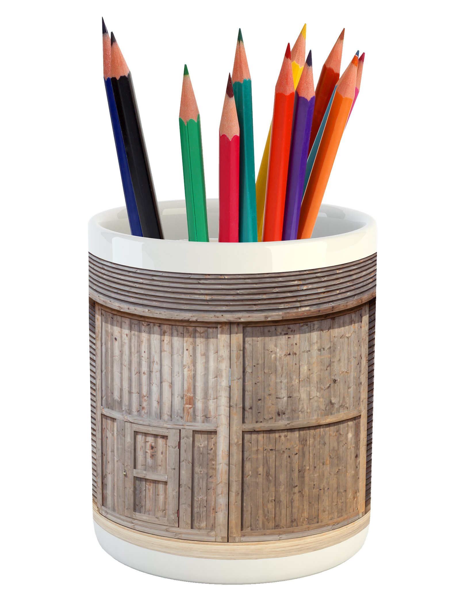 Ambesonne Industrial Pencil Pen Holder, Old Wooden Timber Oak Barn Door Farmhouse Countryside Rural House Village Artsy Print, Printed Ceramic Pencil Pen Holder for Desk Office Accessory, Brown