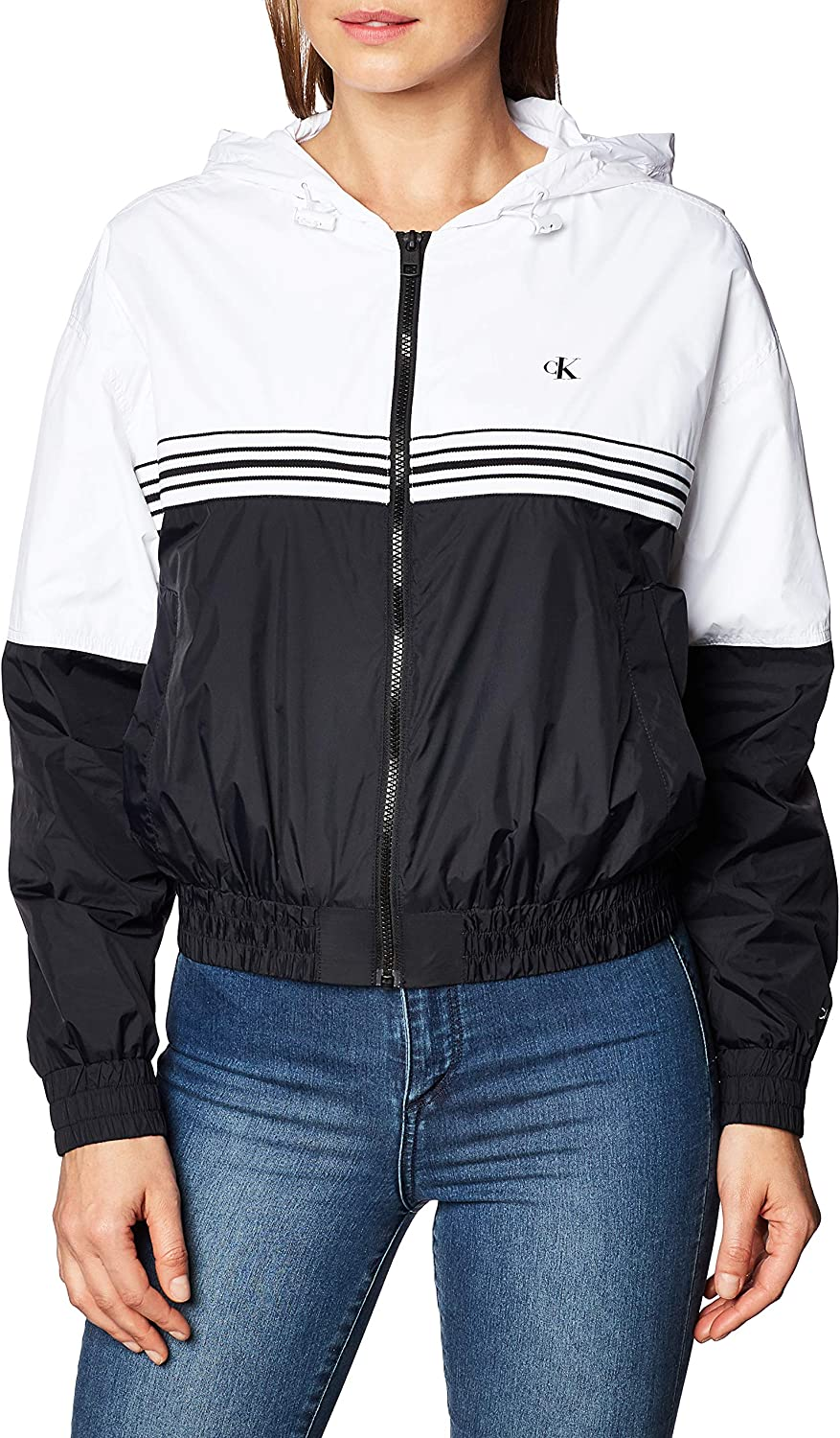 Calvin Klein Stripe Tape Hooded Windbreaker Chaqueta para Mujer