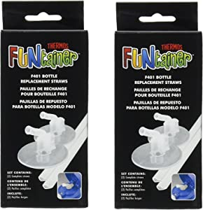 Thermos Replacement SoLDYZ Straws for 12 Ounce Funtainer Bottle, Clear, 2 Count (2 Pack)