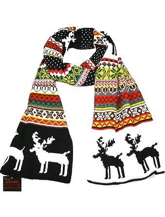 Christmas Scarf.Lovarzi Winter Scarf For Women And Men Reindeer Snowflake Christmas Scarves