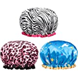 POPCHOSE Shower Cap, Large Shower Caps for Women Long Hair, Reusable Double Layer Waterproof Shower Hair Bath Cap, Stylish Sa