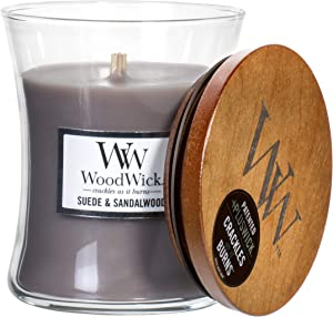 WoodWick Suede & Sandalwood Scented Hourglass Crackling Wooden Wick Candle in Clear Glass Jar, Medium - 9.7 Oz
