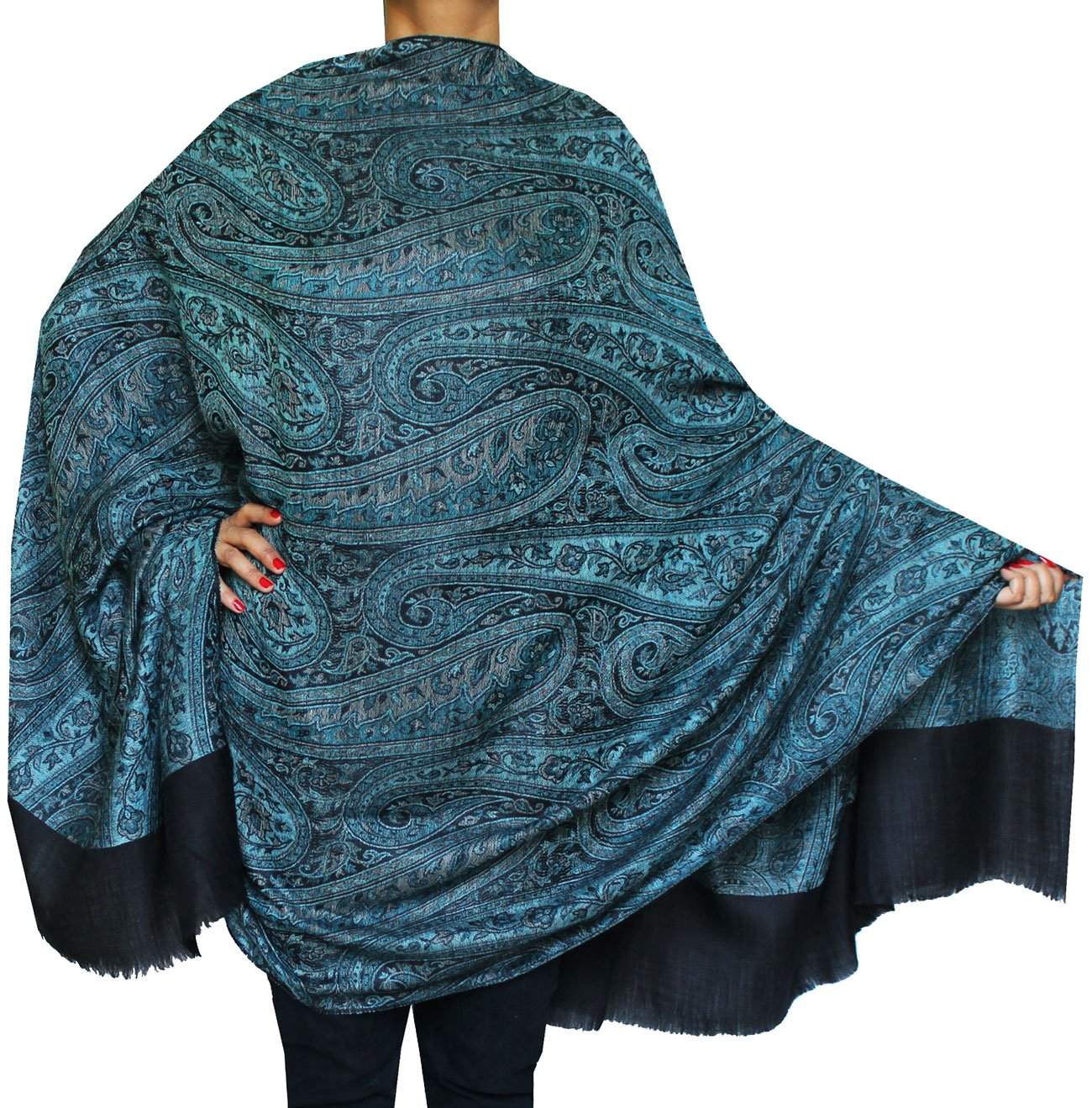 Women's Wool Shawl Paisley Indian Scarves Wraps (82 x 42 inches) Maple Clothing shwl143187a