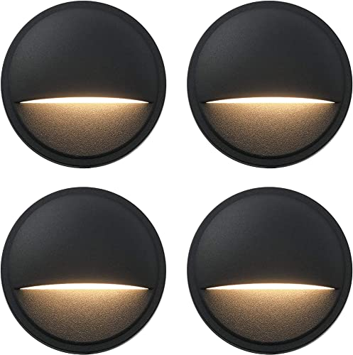 GKOLED Low Voltage LED Deck Lights, Landscape Step Stair Railing Light with 2W Integrated LED Chips, Die-cast Aluminum 12V AC DC Accent Lighting Fixtures with Black Powder Coated Finish 4-Pack