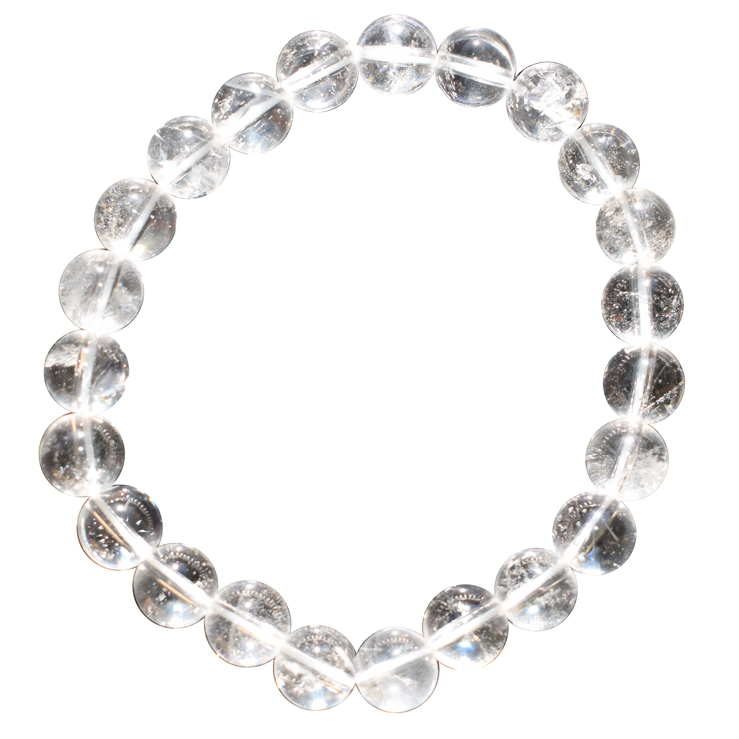 ZENERGY GEMS CHARGED Premium 7'' Amplifier Clear Quartz Crystal 8mm Bead Bracelet [REIKI] by