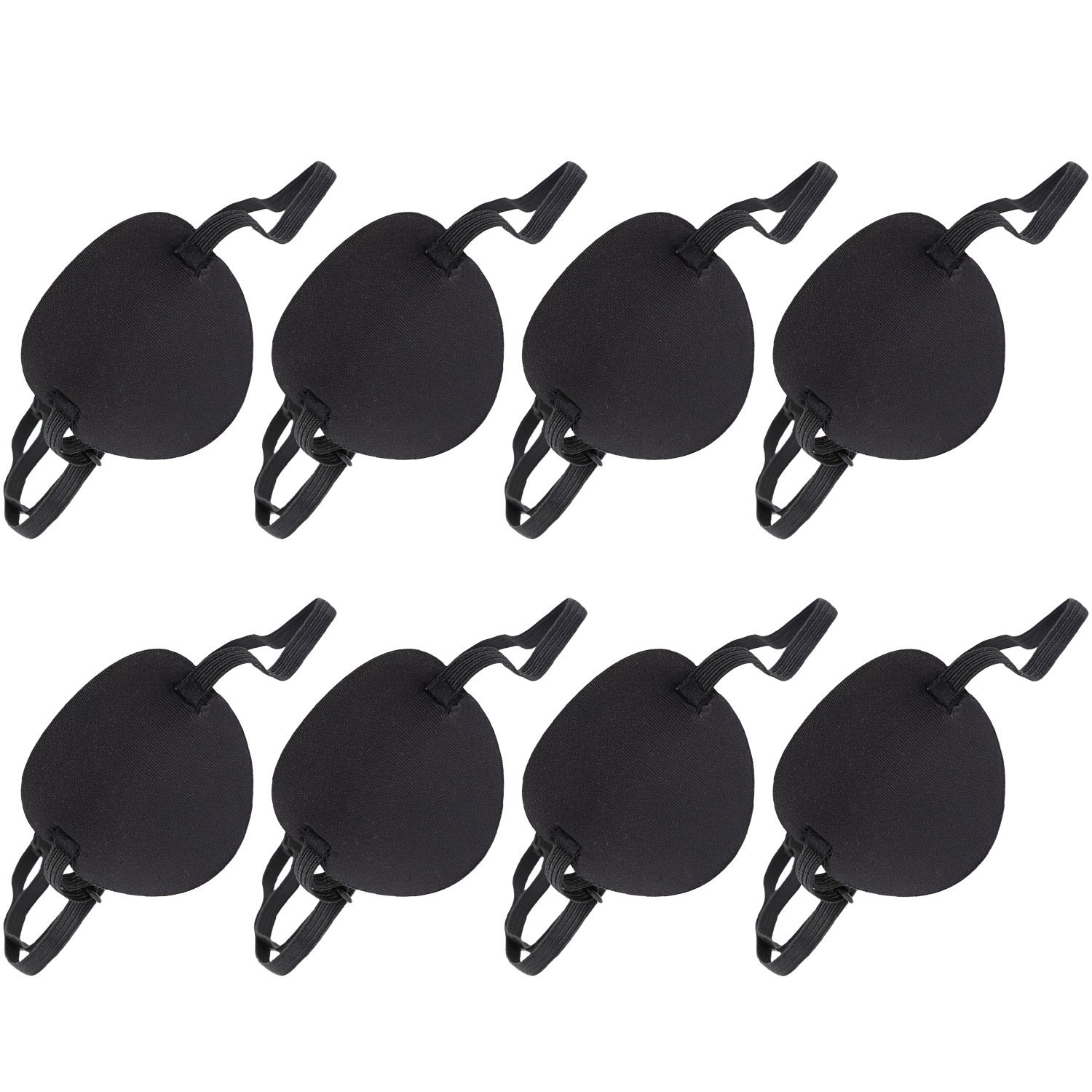 8 Pieces Adjustable Sponge Eye Patch Strabismus Eye Mask with Buckle for Adults and Kids, Black Boao