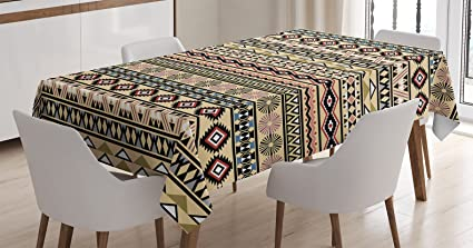 Ambesonne Native American Decor Tablecloth, Traditional South American  Culture Aztek Tribal Print in Retro Soft Color Mystic Art, Rectangular  Table