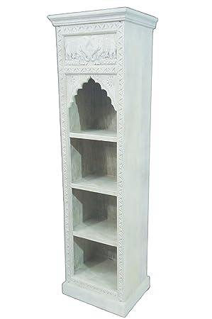 Regal aus Holz massiv schmal in Weiß Saladin 180cm hoch für ...
