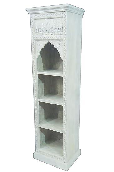 Regal aus Holz massiv schmal in Weiß Saladin 180cm hoch für Bad oder ...