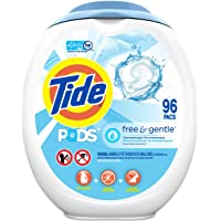 Tide PODS Free and Gentle, Laundry Detergent Soap PODS, HE, 96 Count - Unscented and Hypoallergenic for Sensitive Skin…