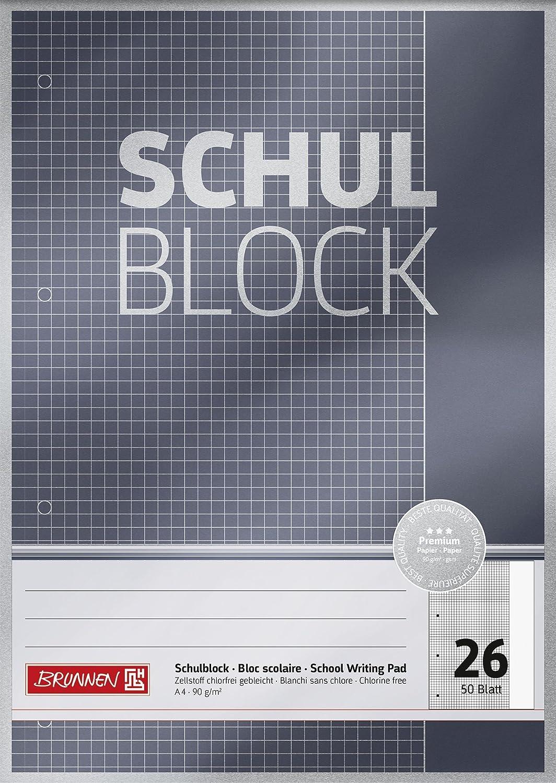 Brunnen 1052626 Schulblock / Notizblock Premium (A4, 50 Blatt, kariertt, mit Rand, Lineatur 26, gelocht, kopfverleimt, 90 g/m²) 90 g/m²) Baier & Schneider