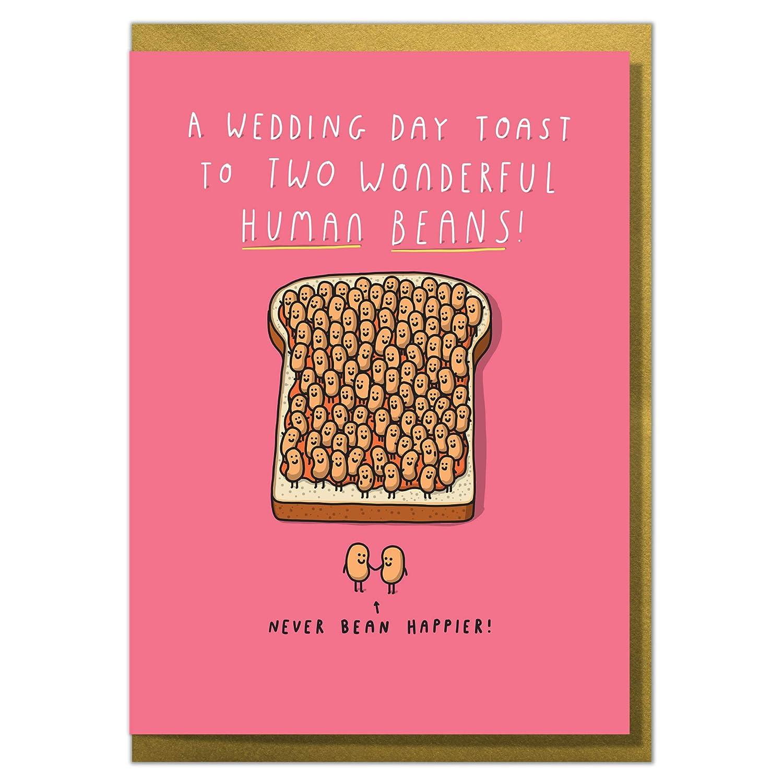 """A Wedding Day Toast to Two Wonderful Human Beans!"" Fun Cute Wedding Card Tillovision Ltd"