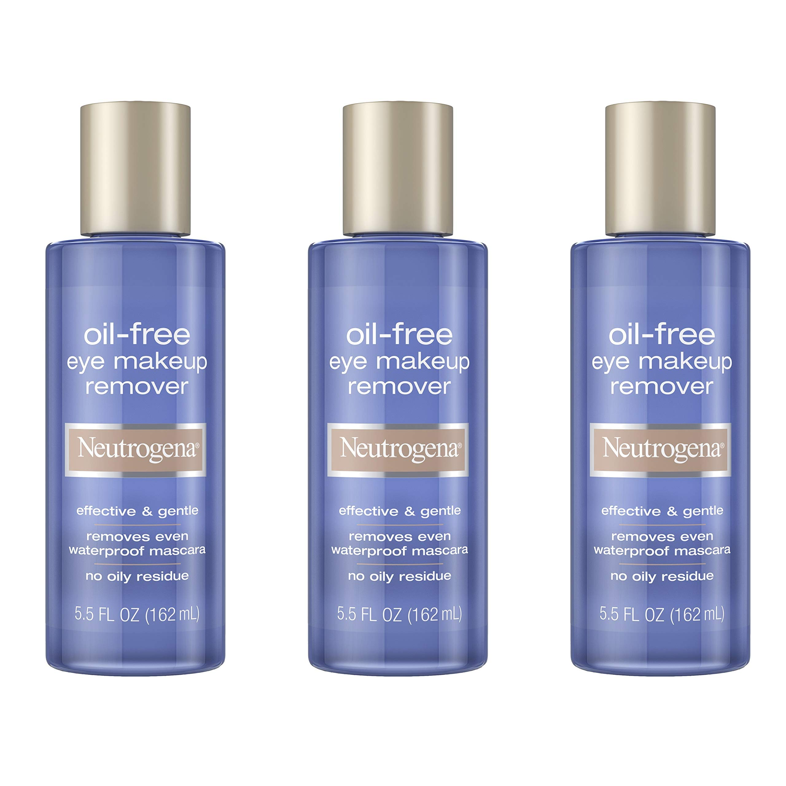 Neutrogena Gentle Oil-Free Eye Makeup Remover & Cleanser for Sensitive Eyes, Non-Greasy Makeup Remover, Removes Waterproof Mascara, Dermatologist & Ophthalmologist Tested, 3 x 5.5 fl. oz