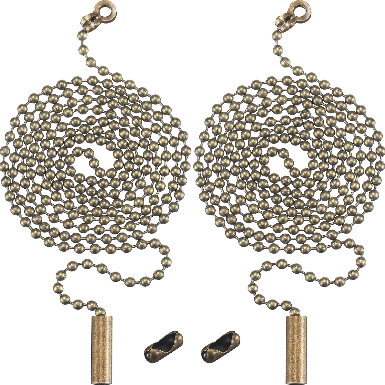 2 Pack Bronze Beaded Pull Chain Extension with Connector for Ceiling Light Fan Chain, 1 Meter Length (Bronze) Shappy