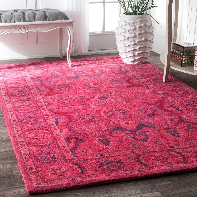 nuLOOM Leaflet Fountain Boho Wool Rug, 4 x 6 , Pink