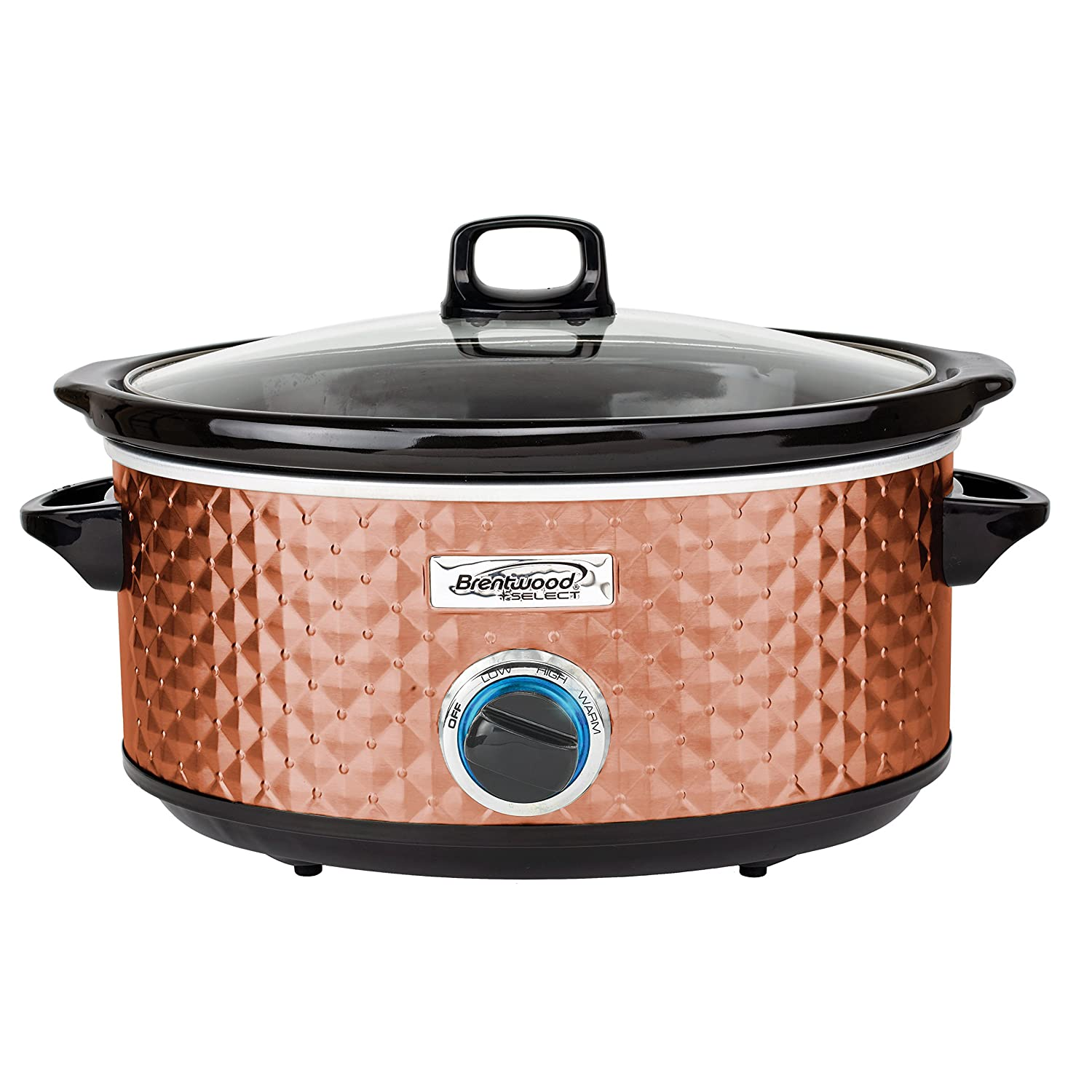 Brentwood SC-157C Diamond Pattern, 7 Quart (Copper) Slow Cooker