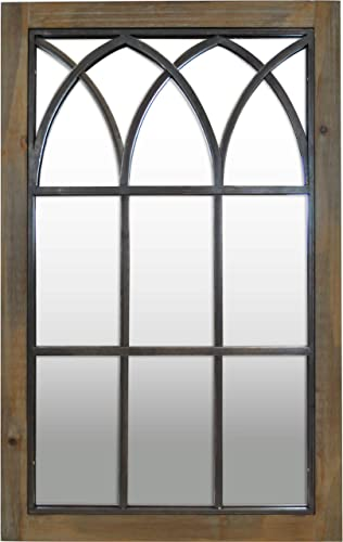FirsTime Co. Grandview Arched Window Mirror, 37.5 H x 24 W, Weathered Brown